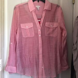 Chicos pink longsleeve button down blouse